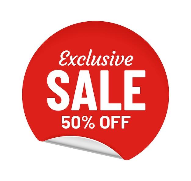 Vente exclusive 50 pour cent de réduction, autocollant rond avec message. offre d'achat pour le client. meilleur badge rouge pour le commerce et le commerce. illustration vectorielle de coin métallique bouclé om emblème