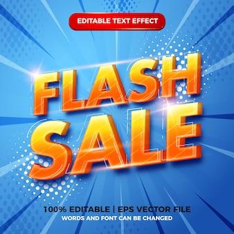 Vente flash 3d style de modèle d'effet de texte modifiable moderne sur fond bleu demi-teinte