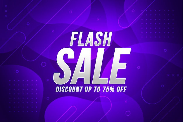 Vente flash bannière dynamique dégradé de liquide abstrait violet