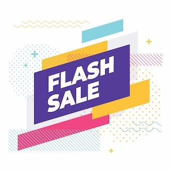 Vente flash avec bannière de formes géométriques colorées.