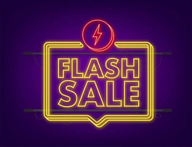 Vente flash. bannière néon flash, défilement, étiquette de prix, autocollant, affiche de badge illustration vectorielle.