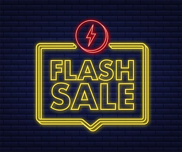 Vente flash. bannière néon flash, défilement, étiquette de prix, autocollant, badge, affiche. illustration vectorielle.