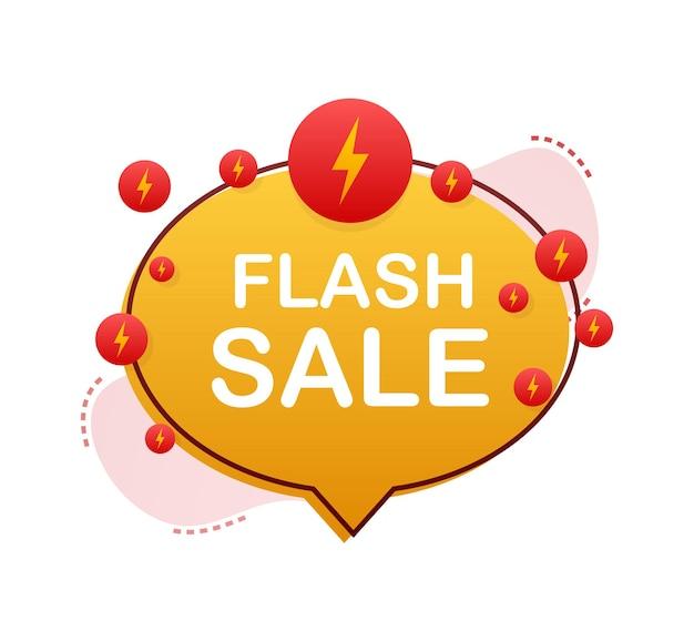 Vente flash. bannière de ruban flash, défilement, étiquette de prix, autocollant, badge, affiche. illustration vectorielle.