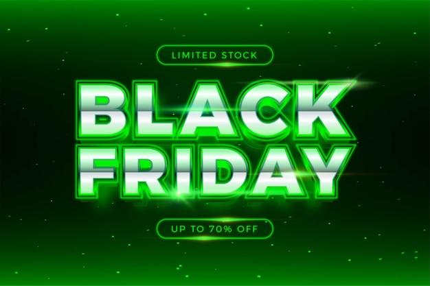 Vente flash black friday avec concept de lumière réaliste argent et néon thème effet