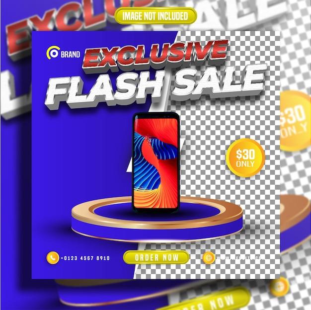 Vente flash exclusive avec publication sur fond transparent sur les réseaux sociaux