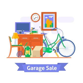 Vente de garage, articles ménagers utilisés. illustration vectorielle de style plat.