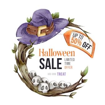 Vente d'halloween aquarelle