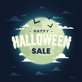 Vente d'halloween au design plat