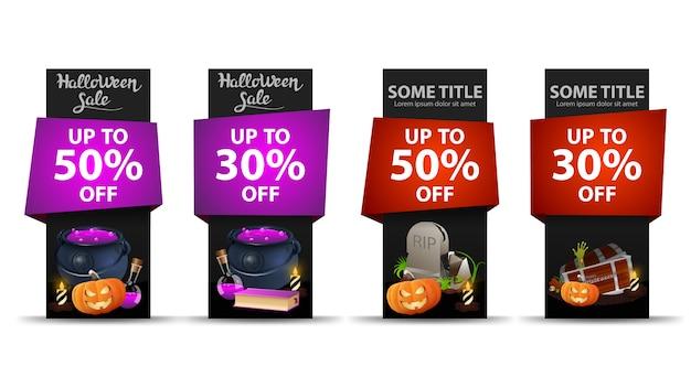 Vente d'halloween, définir des bannières verticales de rabais halloween noir