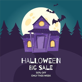 Vente d'halloween dessiné à la main