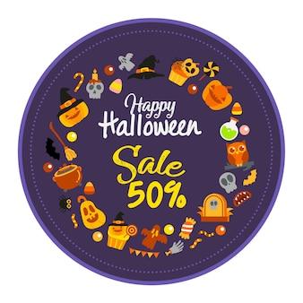 Vente halloween heureux, illustration vectorielle carte.