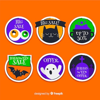 Vente de halloween plat avec collection d'étiquettes rondes