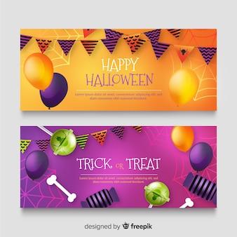 Vente d'halloween réaliste avec gradient