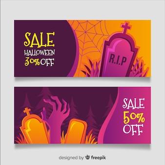 Vente d'halloween réaliste avec pierre tombale