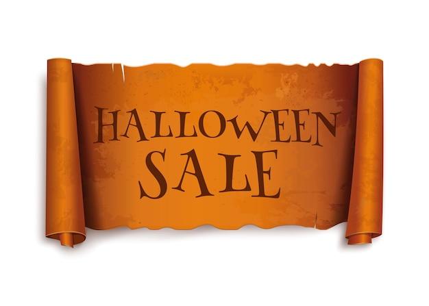 Vente d'halloween. texte sur le ruban de voeux de défilement. conception d'halloween. papyrus antique avec inscription. bannière orange incurvée vintage. illustration vectorielle isolée sur fond blanc