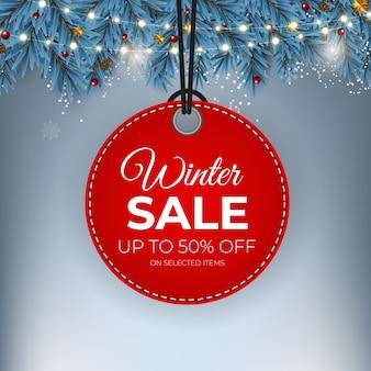 Vente d'hiver bannière d'étiquette rouge pour la promotion au détail saisonnière.