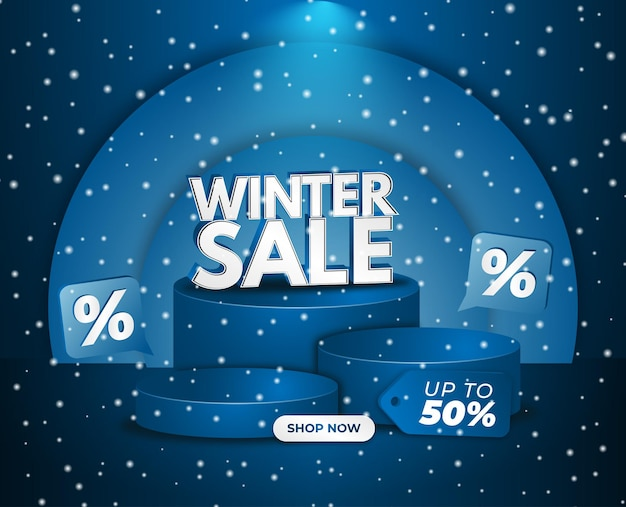Vente d'hiver flayer cold blue abstract multiple podium 3d snow vector