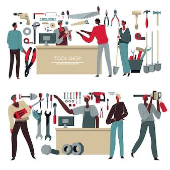 Vente d'instruments dans un magasin d'outils, vendeur consultant les clients. achat d'un kit professionnel pour les travailleurs. marteaux et scie sauteuse, tournevis et boîte à outils de menuiserie en assortiment. vecteur dans un style plat