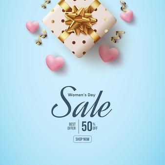 Vente de jour de la femme avec ballon d'amour 3d et boîte-cadeau
