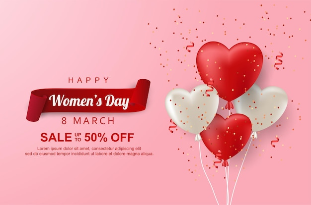 Vente de jour de femme heureuse avec ballon d'amour réaliste