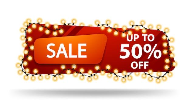 Vente, jusqu'à 50% de réduction, bannière de remise rouge horizontale avec guirlande isolée sur blanc