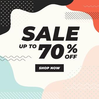 Vente jusqu'à 70% avec une bannière de formes géométriques colorées.