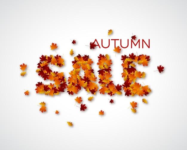 Vente de lettres de feuilles d'automne. fond de feuillage d'automne. illustration vectorielle.