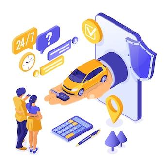 Vente en ligne, achat, location de voiture concept isométrique
