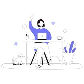 Vente en ligne illustration de la boutique en ligne flat line