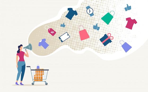 Vente de magasin de publicité en ligne plat.
