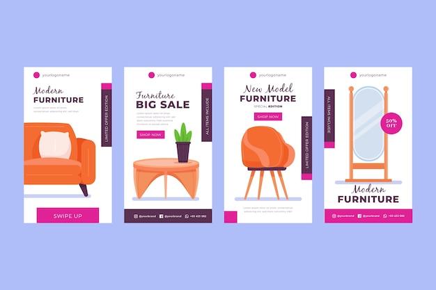 Vente de meubles plats organiques collection instagram story