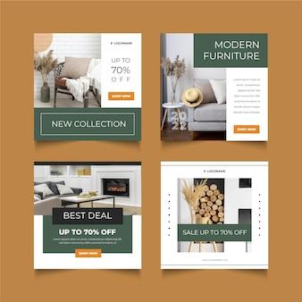 Vente De Meubles Plats Organiques Collection De Publications Instagram Vecteur Premium
