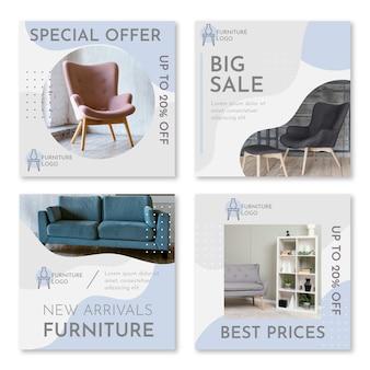 Vente de meubles plats organiques collection de publications instagram