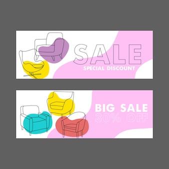 Vente de meubles et remises pour les clients, offre. design d'intérieur à la maison