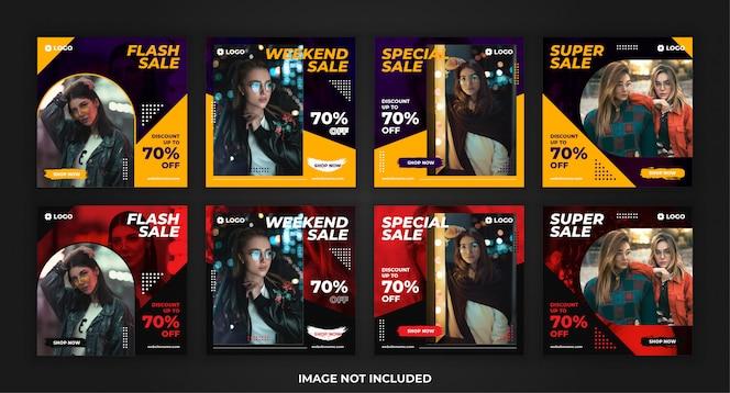 vente de mode de bannière carrée pour le pack de modèles de promotion des médias sociaux