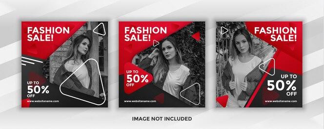 vente de mode de bannière carrée pour le pack de modèles de publication sur les médias sociaux