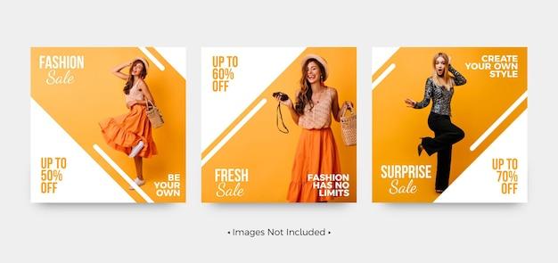 Vente de mode shopping modèles de publication sur les réseaux sociaux