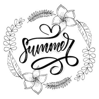 Vente de mot .lettres faites de fleurs et de feuilles soldes d'été affiche de bannière de flyer de vacances ventes d'été