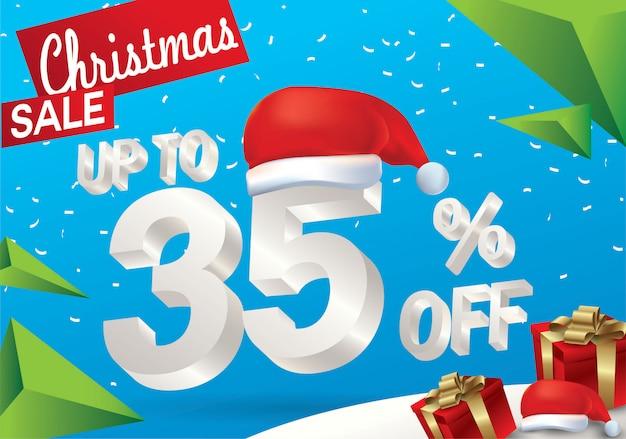 Vente de noël: 35%. fond de vente hiver avec texte de glace 3d avec chapeau de santa