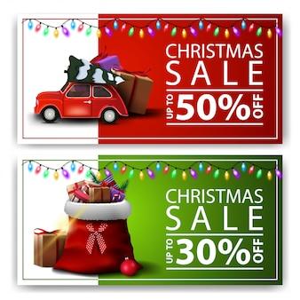 Vente de noël, deux bannières à prix réduits avec sac du père noël et voiture vintage rouge portant un arbre de noël