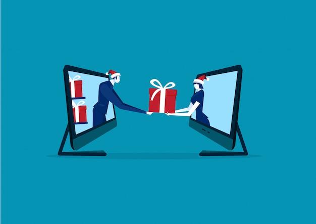 Vente de noël et du nouvel an sur illustration d'ordinateur portable