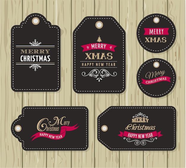 Vente de noël, étiquettes et étiquettes cadeaux