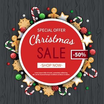 Vente de noël flyer affiche carte étiquette fond bannière sur cadre cercle offre saisonnière spéciale