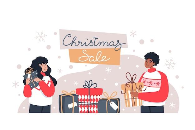 Vente de noël, homme et femme tenant des cadeaux, achats en ligne