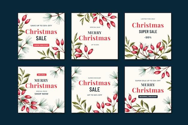 Vente De Noël Instagram Posts Vecteur gratuit