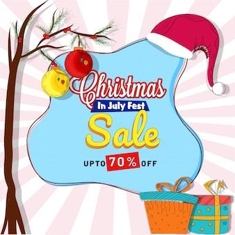 Vente de noël en juillet flyer avec des boîtes-cadeaux.