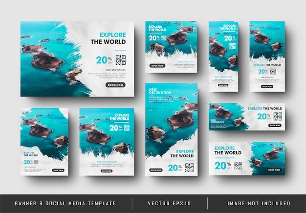 Vente de nourriture de bannière de publicité numérique de médias sociaux de voyage avec collection de texture d'éclaboussure