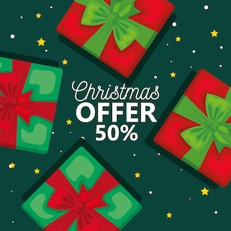 Vente offre joyeux noël avec conception de cadeaux, saison d'hiver et thème de décoration