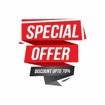 Vente, offre spéciale et conception de ruban de prix