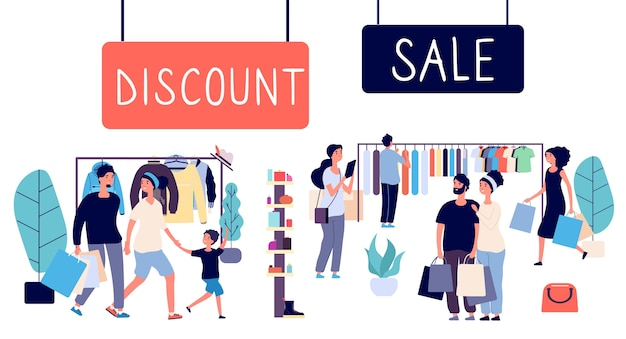 Vente ouverte. gens d'achats, centre commercial discount. concept de vecteur de vente. illustration de magasinage de remise et de vente